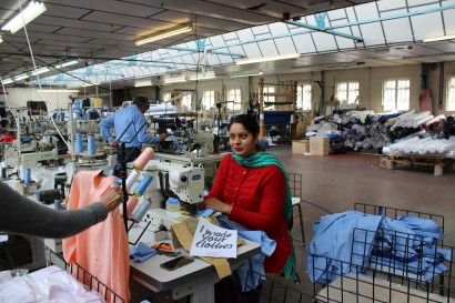 Perveen at our West Midlands suppliers making our shirts